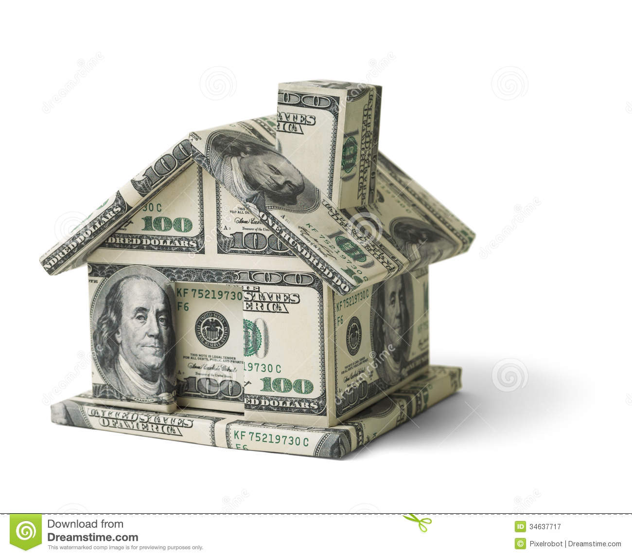 Real Estate Money House Made Cash Isolated White